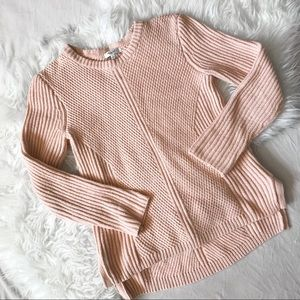 Madewell Hexcomb Textured Pink Sweater